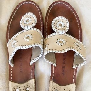 JACK ROGERS CREAM & IVORY LEATHER SANDALS 8